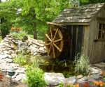 diy-pond-with-water-wheel